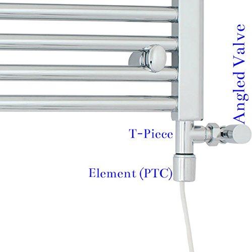 Rica radiator voor handdoekhouder, elektrisch, verwarmbaar, voor verwarming van Dual Fuel, chroom, wit, alle Watt (500 W)