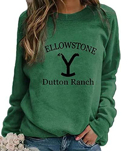 Damen Rundhals Sweatshirt Frauen Langarmshirt Bedrucktes Pullover Oberteil Tops Herbst Freizeit T-Shirt Bluse (Grün, L)