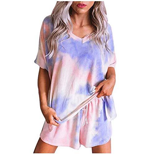 FRAUIT Damen Lose Pyjama Set Kurz Schlafhose+Top Nachtwäsche Shorts +T-Shirt Netter Druck Top+Hose Casual Kleidung