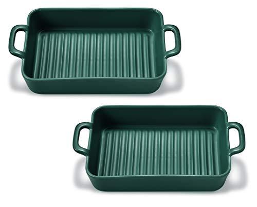 Supremery 2X Auflaufform Ofenform Backform Klein aus Keramik- Ideal für 2 Personen - Auflaufform für Lasagne Tiramisu - rechteckig - 2er Set