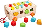 Afufu Montessori Toys for 1 Year Old, Wooden Shape Sorting Pull Along Toy