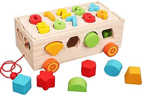 Afufu Lernspielzeug Kinder Holz Spielzeug, Montessori Motorikspielzeug, Push Pull Sortierspiel Sortierwürfel Steckbox für Jungen und Mädchen ab 1 2 3 Jahren