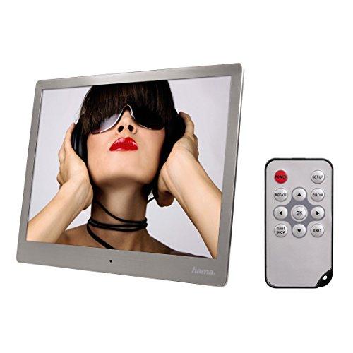 Hama Digitaler Bilderrahmen Slim Steel (24,64 cm (9,7 Zoll), SD/SDHC/MMC-Kartenslot, USB 2.0, mit Fernbedienung) silber
