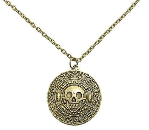 Zonster Inspiriert von Fluch der Karibik Filme Verflucht Aztec-Münzen-Medaillon-Halskette Schädel-Halskette (altmessingfarben)