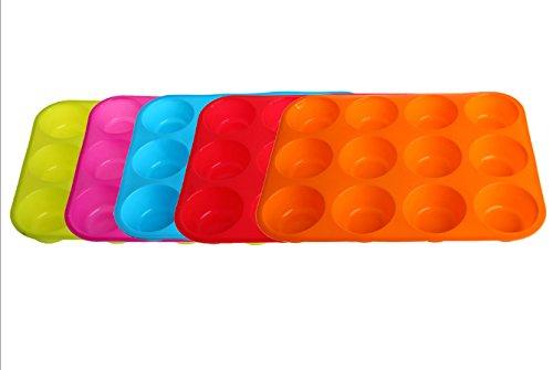 Kemelo Silicona Antiadherente 12 Tazas Molde para Muffins Bandeja para Pasteles Molde para Hornear Pasteles, Accesorios para Herramientas para Hornear