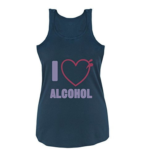 Comedy Shirts - I Love Alcohol - Herz - Damen Tank Top - Navy/Violet-Fuchsia Gr. M