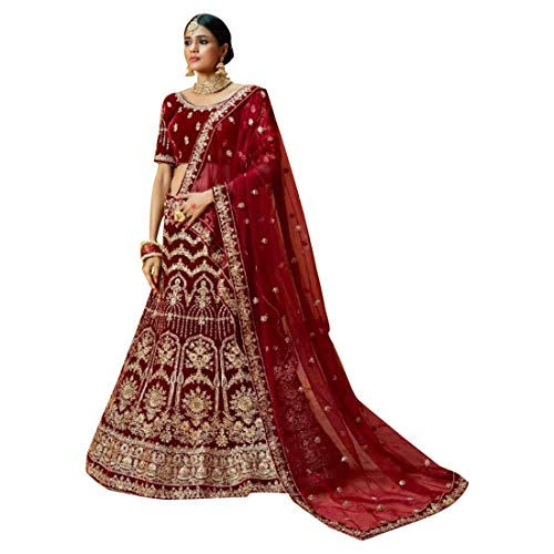 Pure Velvet Lehenga Choli Bridal Designer Indiano Sposa Bollywood Dupatta ghaghara Gonna Reale da Sposa Top Set con Christian Wedding Women Dress Abito da Festa Muslim Indian Diwali Eid Women 8690