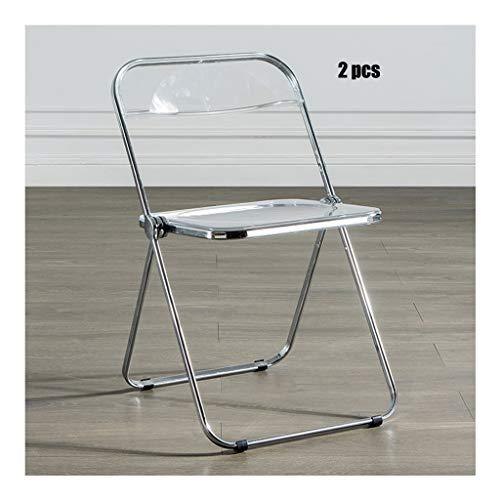 Acrylkristall Stühle Nordic Transparent Klappstuhl Edelstahl-Metall-Stuhl Kreative Eisen Stuhl zurück Luxury Dining Chair (Color : Silver)