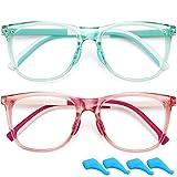 Gafas de bloqueo de luz azul para niños y niñas, 2 unidades de 4 a 10 años