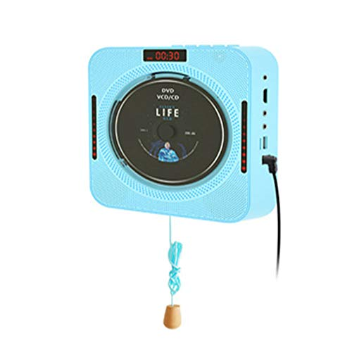 QIAO Portable CD Player with Bluetooth, HI-FI CD Player, Wall-Mounted CD Player, Bluetooth 4.2 Real-Time Connection, HDMI 1080P Video Output, Support Headset, Pull-Wire Switch Design, for Home,Blue