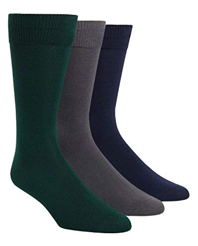 Polo Ralph Lauren Men's 3-Pack Supersoft Flat Knit with Polo Player Embroidery Socks (One Size, Forest)
