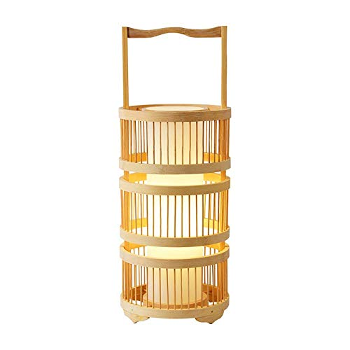N/Z Home Equipment Log Color Bamboo Art Portable Table Lamp Floor Lamp Zen Tea Room Study Room Wine House Lamp Suitable for Living Room Bedroom