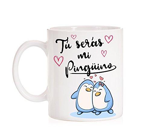 Taza Tú serás mi Pingüino. Taza de Amor de pingüinos para Regalo de Enamorados, Novios, Pareja, Amistad.