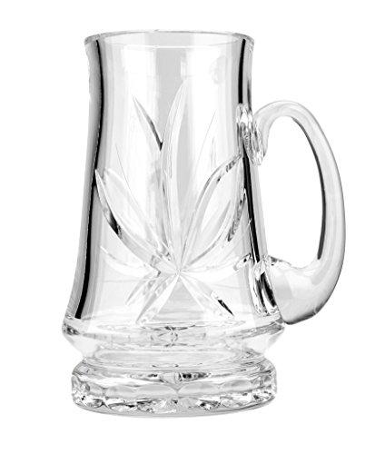 Victoria Bella M6511/9, 22 Oz. Hand-Made Crystal Beer Stein Mug, Crystal Cut Large Lager Stout IPA Weizen Ale Pilsner Wheat Beer Glass, 1 Mug
