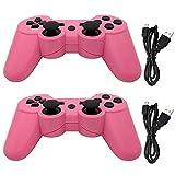 Dimrda PS3 - Mando a Distancia inalámbrico Dualshock 3 con 6 Ejes Bluetooth PS3 para Playstation 3, Mando a Distancia, Joystick, 2 Unidades con Cables de Carga, Color Rosa
