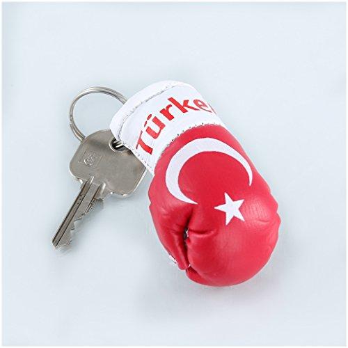 Sportfanshop24 Schlüsselanhänger/Anhänger für Schlüssel - TÜRKEI - Boxhandschuh mit Schlüsselring, 7 cm groß