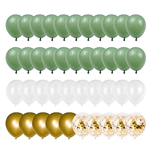Olive Green Gold White Latex Balloons,52 Pcs Green and Gold Confetti Party Balloons For Birthday Baby Shower Engagement Wedding Anniversary Party Decorations.