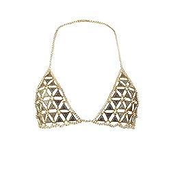 Triangle, Gold Chain Necklace Summer Bikini Bra
