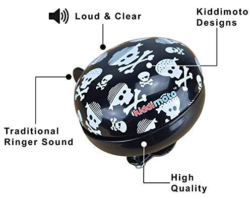 KIDDIMOTO Glocke Design Klingel/Fahrradklingel zubehör Fahrrad, Roller, Kinderroller Kinderfahrrad & Laufrad - Skullz (Klein)- 58mm - 5
