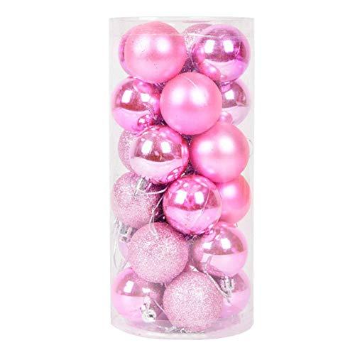 Christmas Balls Decoración Colgante Adornos De Boda Gadgets Artículos De Decoración Brillantes Modernos De Plástico 24 Piezas Fiesta De Cumpleaños-Rosa-8Cm