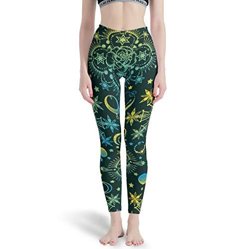 BTJC88 - Moon Sun Pants Enge Knöchel Damen Leggings Depot Jogger Mond Sonne Thema Capri Workout Strumpfhose Yoga Hose für Frauen Hohe Taille Weiß S
