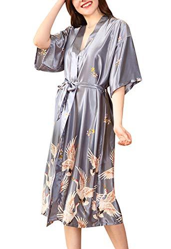 FEOYA - Kimono Femme Robe de Chambre Longue Manches 1/2 en Soie Artificielle Robe de Nuit avec Ceinture Couleur Gris Taille 44-46