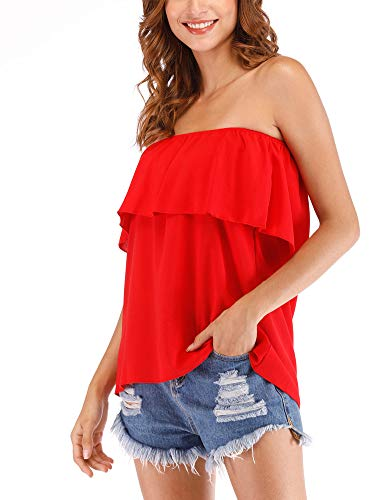 Women's Summer Off Shoulder Chiffon Tube Top Strapless Ruffles Sleeveless Sexy Tops Casual T Shirts Red L