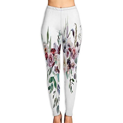 Pantalones de Yoga para Mujer,Ramo de Novia de la Boda con Flores de Color Verde púrpura,Pantalones de Entrenamiento de Cintura Alta Medias elásticas de Yoga Impresas S