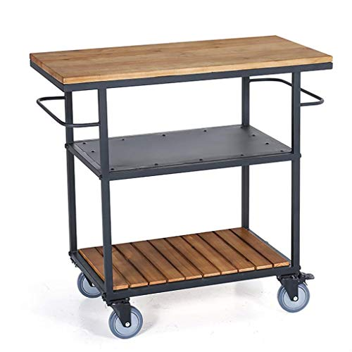 JOLLY Industrial Vintage Style Wood Metal 3 Tiers Kitchen Serving Trolley with Wine Rack