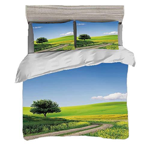 Bettwäscheset Super King Size (240 x 260 cm) mit 2 Kissenbezügen Natur Mikrofaser-Bettwäsche-Sets Ländliche Land-Landschaft mit Blumenrasenfläche-Baum-idyllischer Landschaft,apfelgrünes hellblau Pfleg