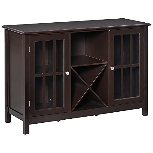 HOMCOM Serving Buffet Sideboard Cabinet with Open Storage, 12 Bottle Wine Rack, Framed Glass Doors and 2 Cabinets, Espresso