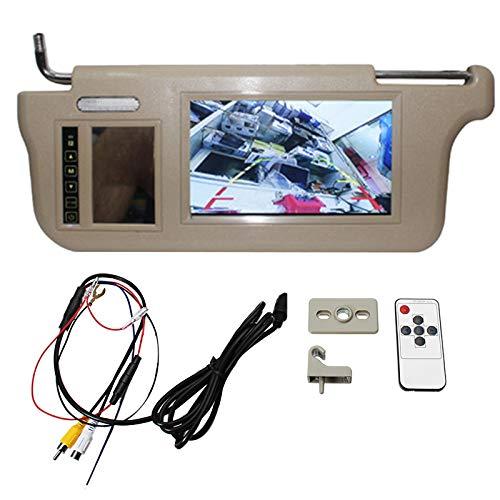 Gaoominy 7 Zoll Auto Sonnenblende Spiegel Bildschirm LCD-Monitor 12V Beige Innen Spiegel Bildschirm Linke Seite für AV1 AV2 Player Kamera