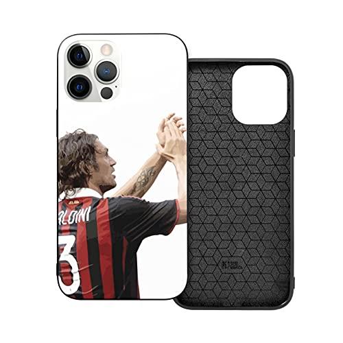 Jinfugongmao Compatible con iPhone 12/11 Pro MAX 12 Mini SE X/XS MAX XR 8 7 6 6s Plus Case Italia Kite Italy Milan AC Paolo Manchester United Maldini Negro Cajas del Teléfono Cover