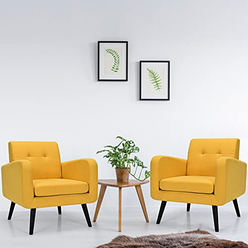 Giantex Set of 2 Modern Upholstered Accent Chair, Mid Century Armchair, w/Rubber Wood Legs, Linen Fabric Single Sofa for Living Room, Bedroom, Office