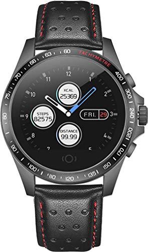 Smartwatch Damen Herren Sportuhr Touchscreen Fitness Tracker Blutdruck Herzfrequenz Schlafüberwachung Schrittzähler Android iOS Leder Armbanduhr