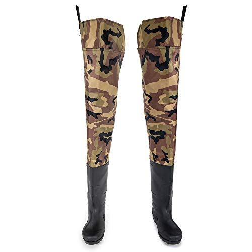 FLY FISHING HERO Hip Wader for Men with Boots 2 Ply Nylon/PVC Fishing Hip Wader for Women Bootfoot Hip Wader Waterproof Lightweight Boot Cleated Outsole (Camo, 5)