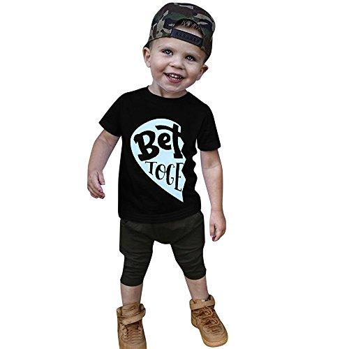 ❤️LILICAT Enfant en Bas âge Enfants Garçons Lettre Imprimer T-Shirts Tops Tenues Frère Vêtements Mode Mieux Ensemble Enfants Lettre Imprimer T-Shirt Tops Frères (big 24 Mois)