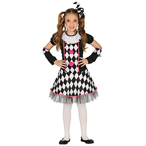 Amakando Original Disfraz de Payaso para niña / Negro-Blanco 7 - 9 años, 127 - 132 cm / Vestimenta de Circo bufón para niños / Insuperable para Fiestas Infantes y Fiestas temáticas