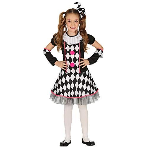 Amakando Original Disfraz de Payaso para nia/Negro-Blanco 10-12 aos, 142-148 cm/Vestimenta de Circo bufn para nios/Insuperable para Fiestas Infantes y Fiestas temticas