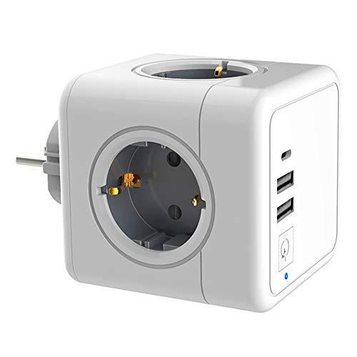 DALADA Steckdosenwürfel Mit USB, Für Steckdose Mit Typ C,Platz Sparen Cube Steckdosenleiste Eu-stecker Würfelstecker Ohne Kabel