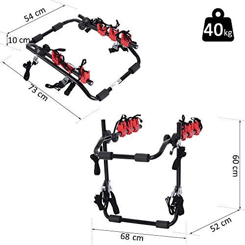 HOMCOM Fahrradheckträger für 3 Fahrräder Fahrradträger Heckträger faltbar mit Sicherheitsseile Metall + Kunststoff - 6