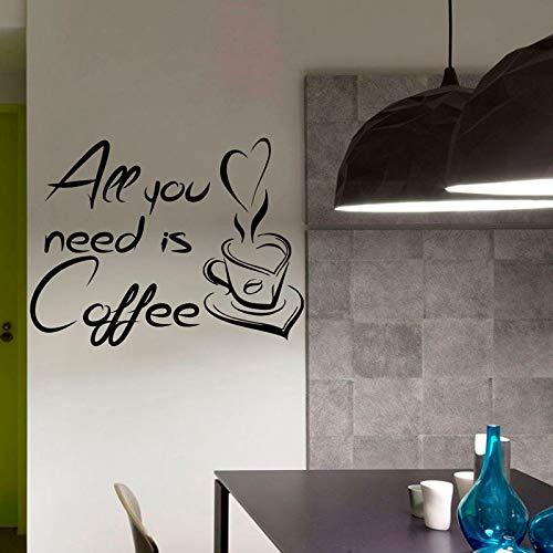 Alles wat je nodig hebt is koffie citaat muur sticker koffiekopje huisdecoratie keuken vinyl lijm waterdichte muursticker kunst muurschildering 59x76cm