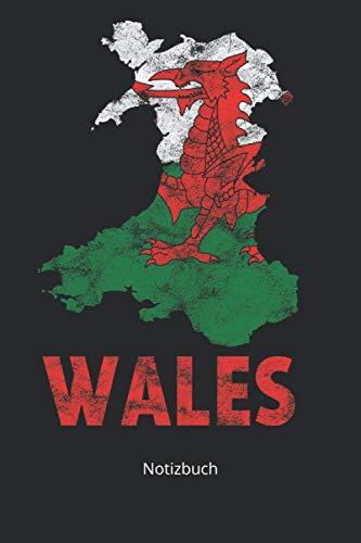 Notizbuch: Wales Vintage Nationalität Sportmannschaft Fan Geschenke (Liniertes Notizbuch mit 100 Seiten für Eintragungen aller Art)