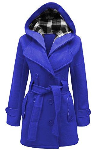 mymixtrendz- Womens Warm Fleece Hooded Jacket with Belt Coat Top Plus Sizes 8-20 (XXXXL (UK 20 EU 48 US 16), Royal Blue)