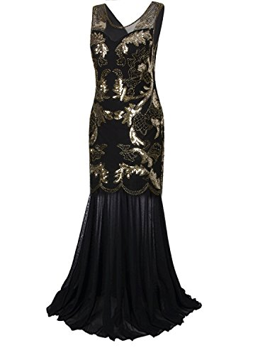 Vijiv Vintage 1920s Gatsby Evening Gown Long Art Deco Sequin Beaded Party Prom Dress,Black Gold,Large