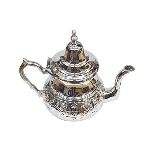 Horus Artesanía de Egipto Tetera marroquí oriental y tradicional de 800 ml hasta 10 vasos típicos de té
