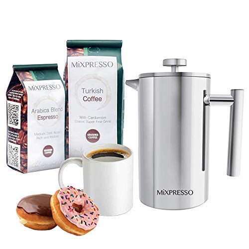 Mixpresso Stainless Steel French Press Coffee Maker 34 Oz 1L Double Wall Metal Insulation Coffee Press &Tea Brewer Easy Clean, And Easy Press High Quality