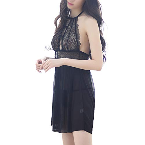 Dingziyue + T signore del Halter del merletto pigiami Halter Sexy Lingerie trasparente pantaloni (Color : Black, Size : S)