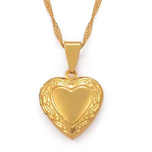 huangshuhua Corazón de Color Dorado DIY Keeping Po Box Collares Pendientes para niñas Mamá Esposa Novia Regalos 45Cm THI Chain