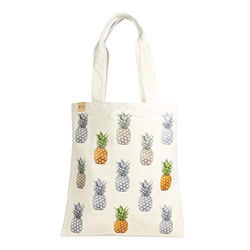 Me Plus Eco Cotton Canvas Stylish Printed Fashion Shopping and Travel Tote Bag (Pineapple-1)